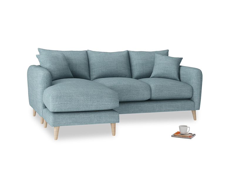 Large left hand Squishmeister Chaise Sofa in Soft Blue Clever Laundered Linen