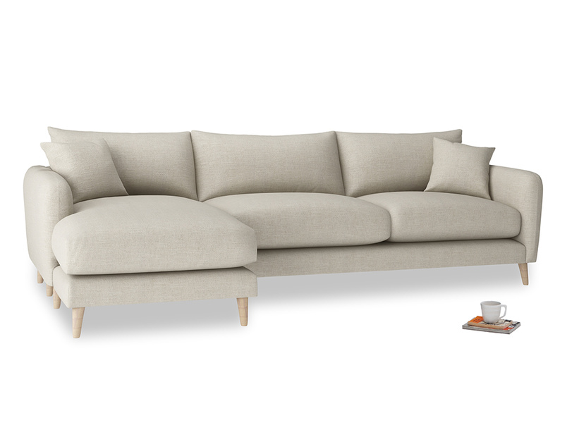 XL Left Hand  Squishmeister Chaise Sofa in Thatch house fabric
