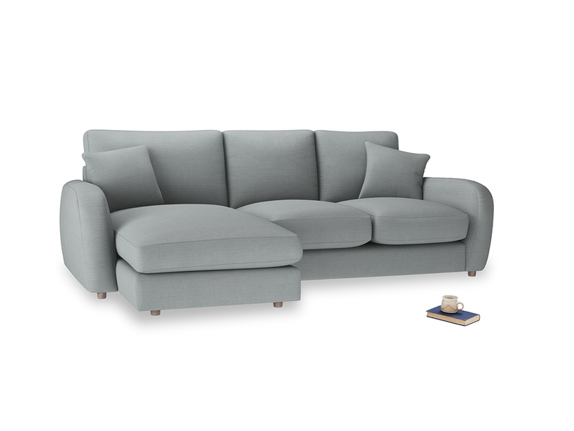 Large left hand Easy Squeeze Chaise Sofa in Armadillo Clever Softie