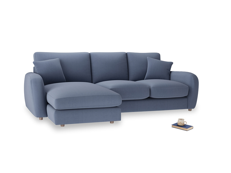 Large left hand Easy Squeeze Chaise Sofa in Breton blue clever cotton