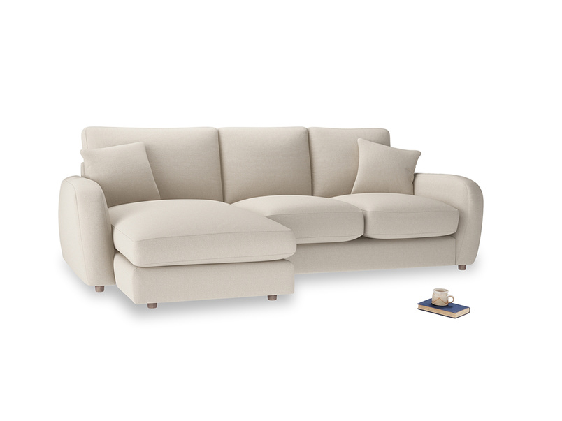 Large left hand Easy Squeeze Chaise Sofa in Buff brushed cotton