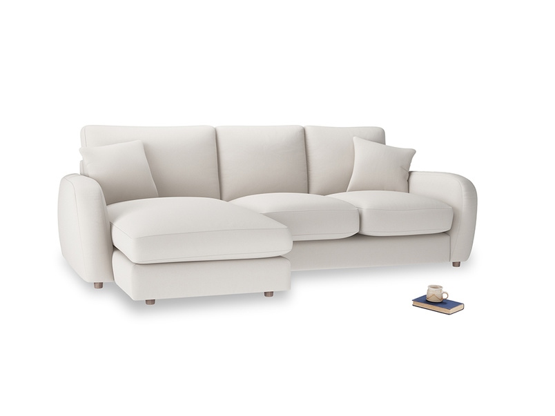 Large left hand Easy Squeeze Chaise Sofa in Chalk clever cotton