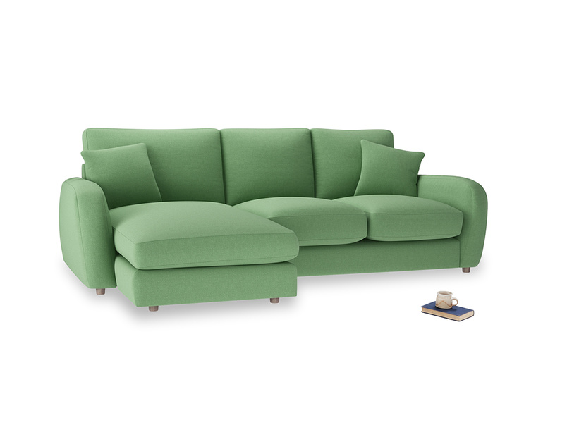 Large left hand Easy Squeeze Chaise Sofa in Clean green Brushed Cotton