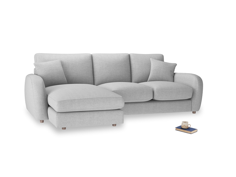 Large left hand Easy Squeeze Chaise Sofa in Cobble house fabric