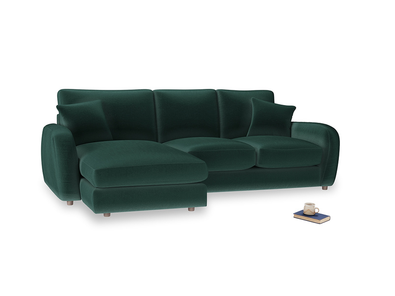Large left hand Easy Squeeze Chaise Sofa in Dark green Clever Velvet