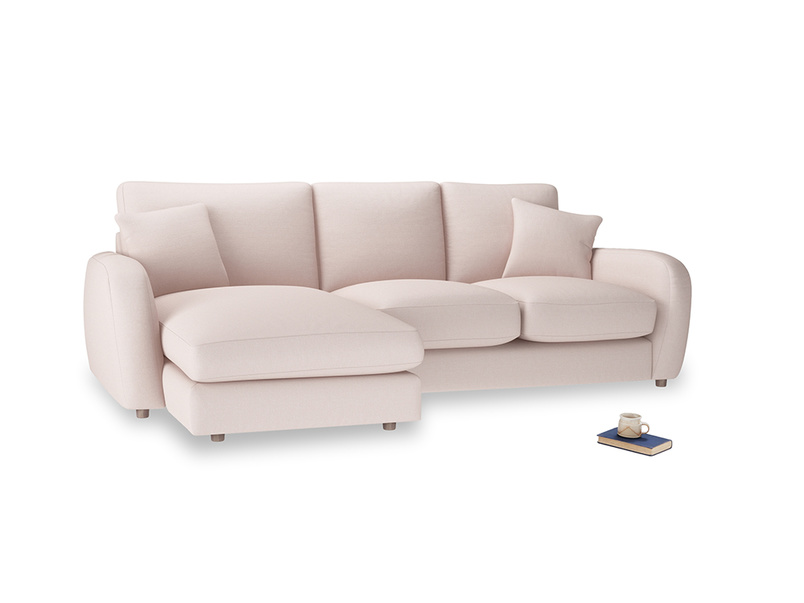 Large left hand Easy Squeeze Chaise Sofa in Faded Pink brushed cotton