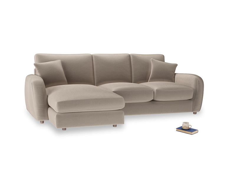 Large left hand Easy Squeeze Chaise Sofa in Fawn clever velvet