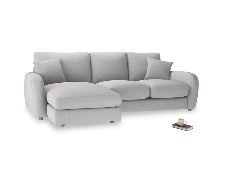 Large left hand Easy Squeeze Chaise Sofa in Flint brushed cotton