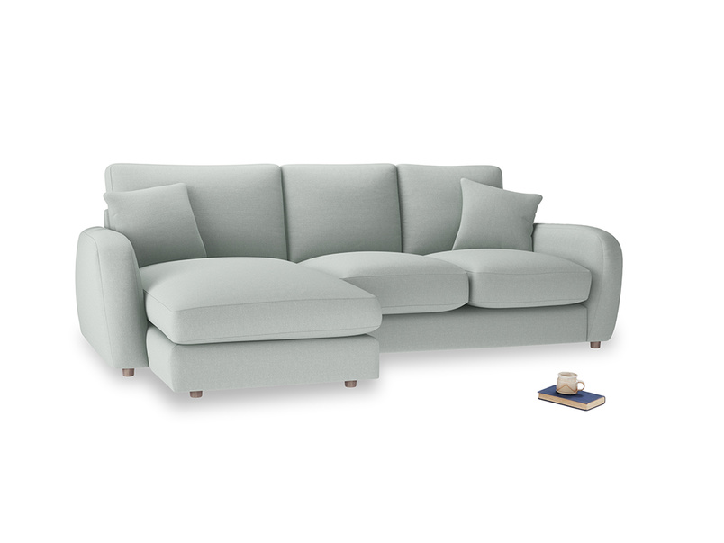 Large left hand Easy Squeeze Chaise Sofa in French blue brushed cotton