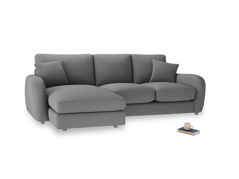 Large left hand Easy Squeeze Chaise Sofa in French Grey brushed cotton