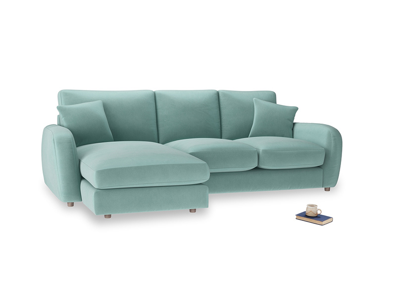 Large left hand Easy Squeeze Chaise Sofa in Greeny Blue Clever Deep Velvet