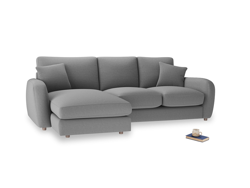 Large left hand Easy Squeeze Chaise Sofa in Gun Metal brushed cotton