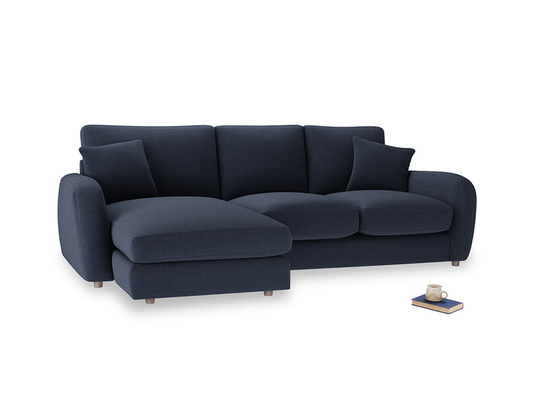 Large left hand Easy Squeeze Chaise Sofa in Indigo vintage linen