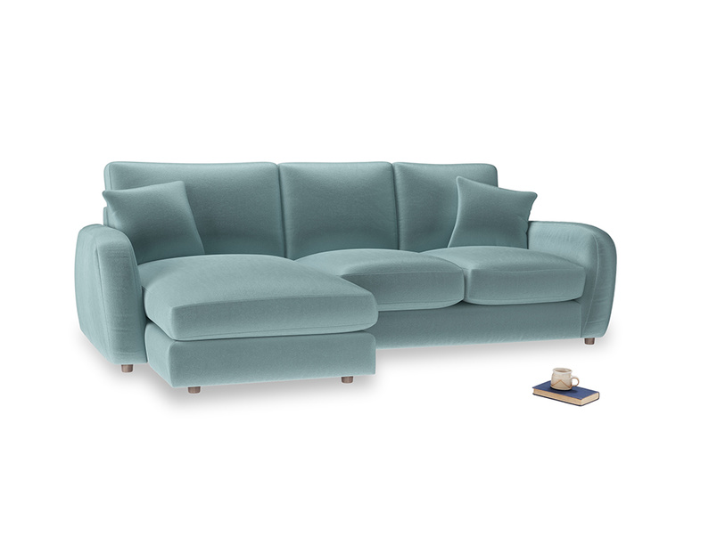 Large left hand Easy Squeeze Chaise Sofa in Lagoon clever velvet