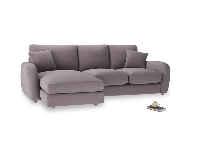 Large left hand Easy Squeeze Chaise Sofa in Lavender brushed cotton