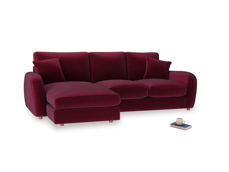 Large left hand Easy Squeeze Chaise Sofa in Merlot Plush Velvet