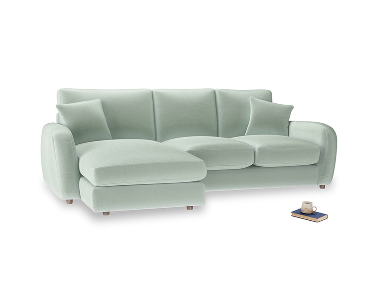 Large left hand Easy Squeeze Chaise Sofa in Mint clever velvet