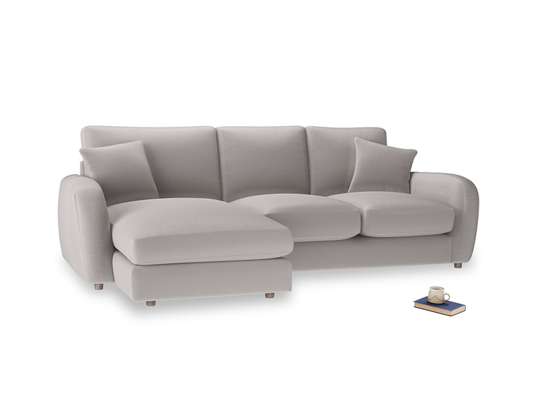 Large left hand Easy Squeeze Chaise Sofa in Mouse grey Clever Deep Velvet