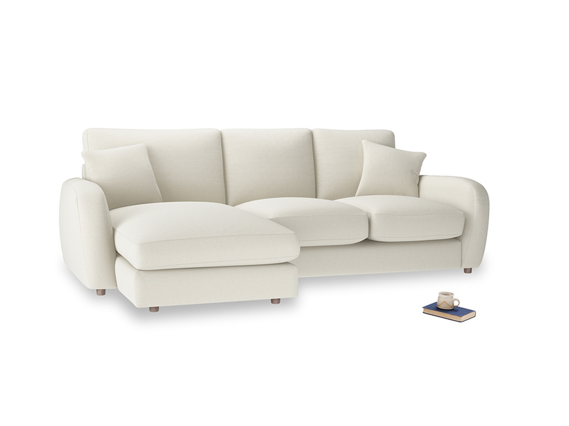 Large left hand Easy Squeeze Chaise Sofa in Oat brushed cotton
