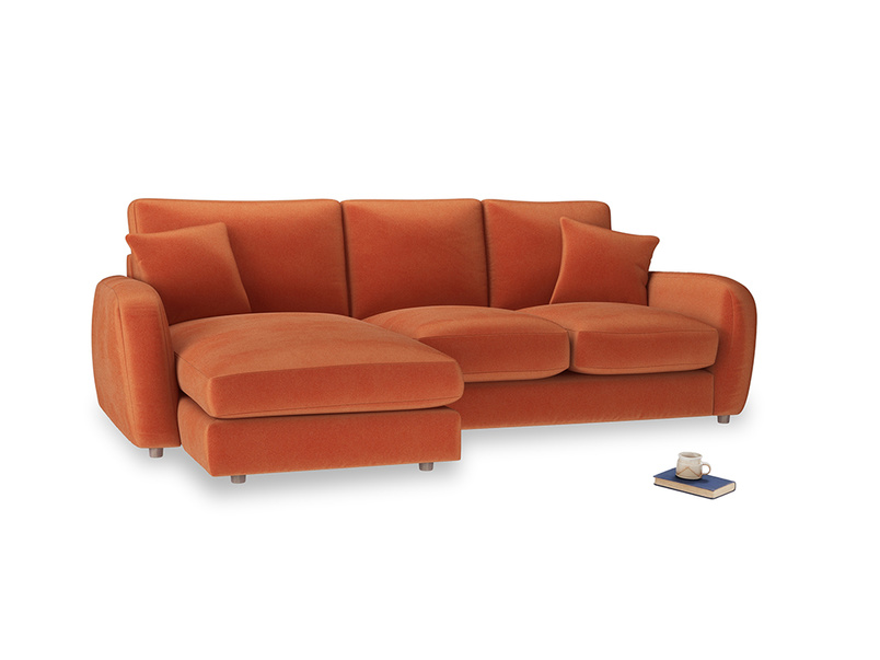 Large left hand Easy Squeeze Chaise Sofa in Old Orange Clever Deep Velvet