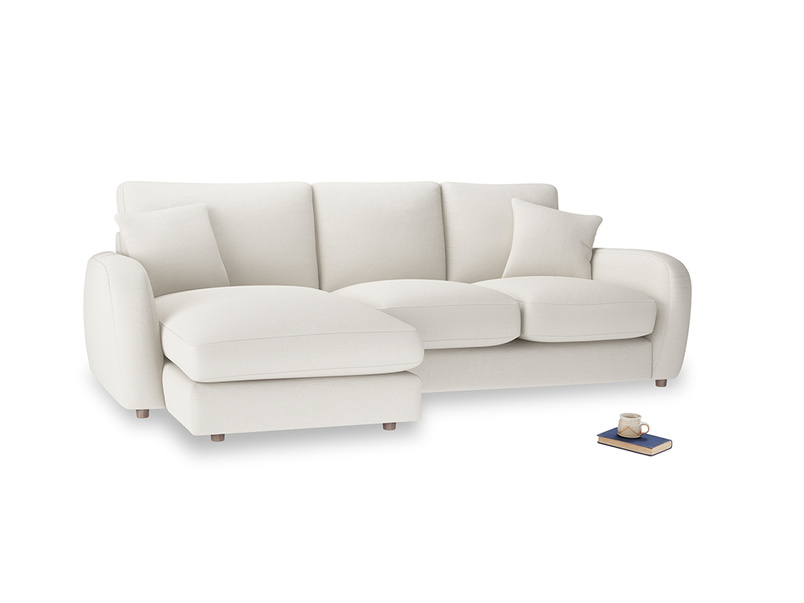 Large left hand Easy Squeeze Chaise Sofa in Oyster white clever linen