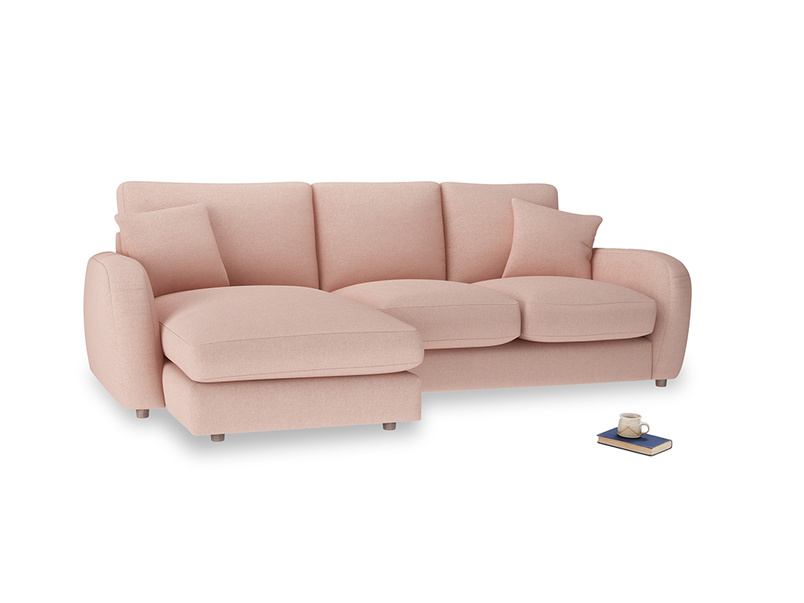 Large left hand Easy Squeeze Chaise Sofa in Pale Pink Clever Woolly Fabric