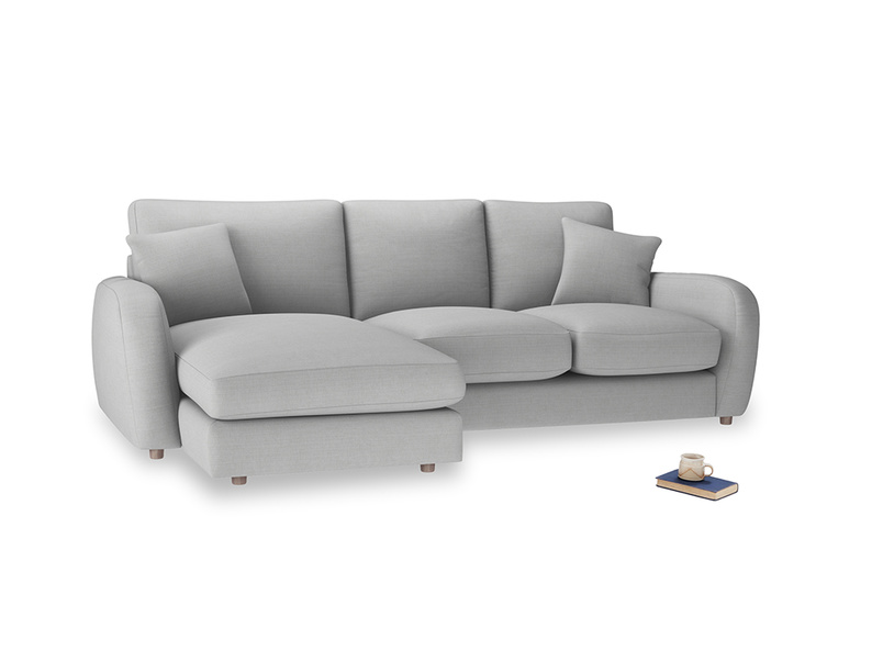 Large left hand Easy Squeeze Chaise Sofa in Pewter Clever Softie