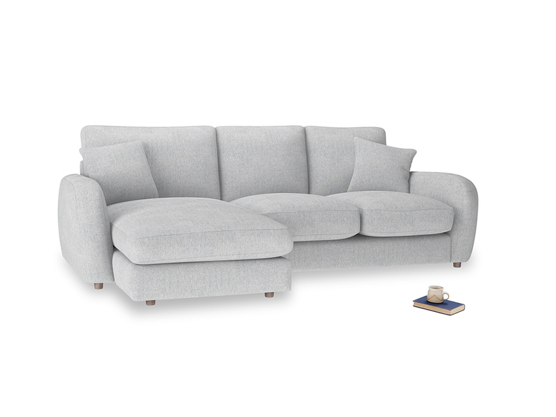 Large left hand Easy Squeeze Chaise Sofa in Pebble vintage linen