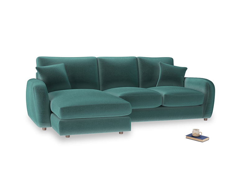 Large left hand Easy Squeeze Chaise Sofa in Real Teal clever velvet