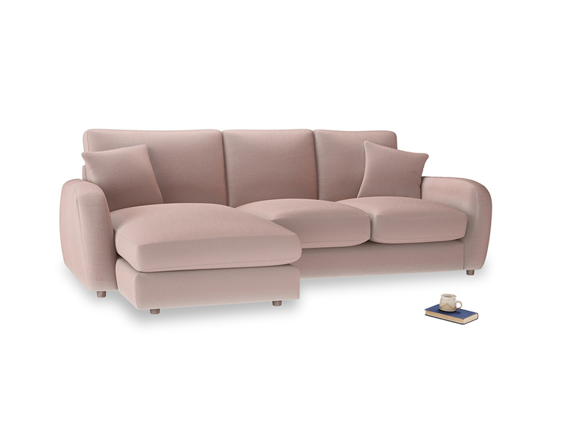 Large left hand Easy Squeeze Chaise Sofa in Rose quartz Clever Deep Velvet
