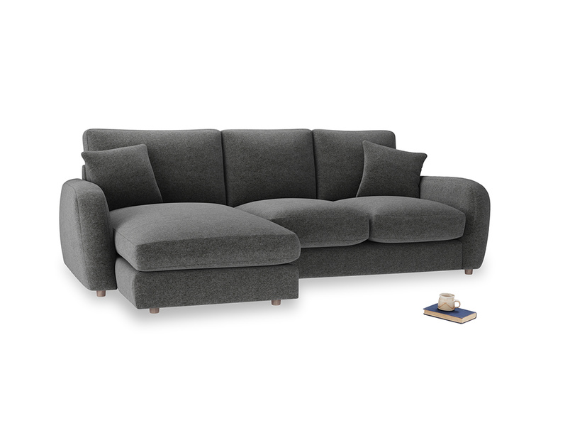 Large left hand Easy Squeeze Chaise Sofa in Shadow Grey wool