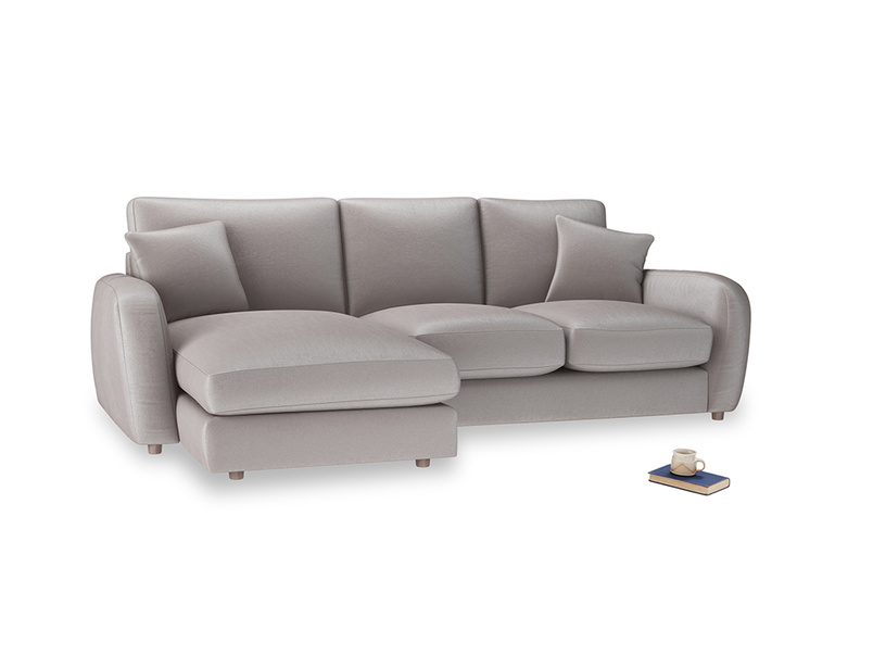 Large left hand Easy Squeeze Chaise Sofa in Soothing grey vintage velvet
