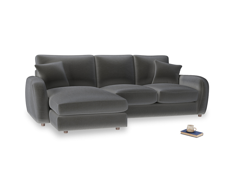 Large left hand Easy Squeeze Chaise Sofa in Steel clever velvet