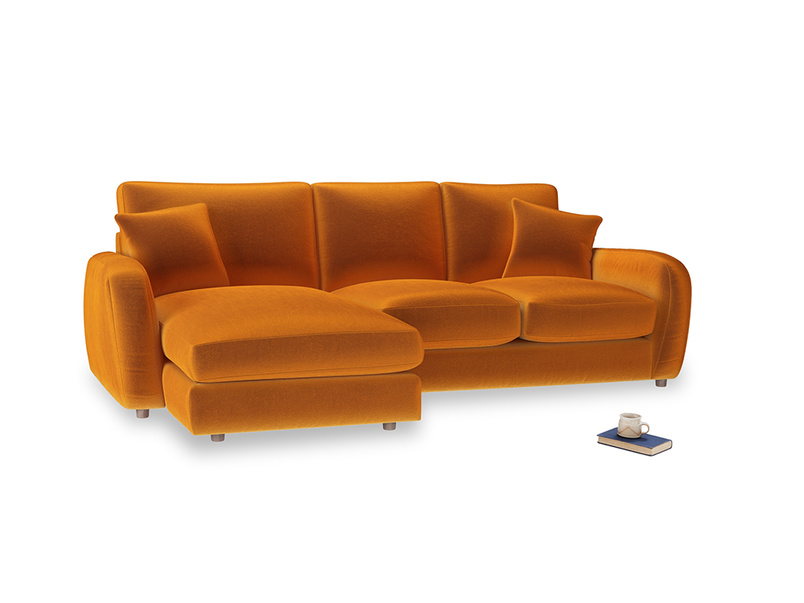 Large left hand Easy Squeeze Chaise Sofa in Spiced Orange clever velvet