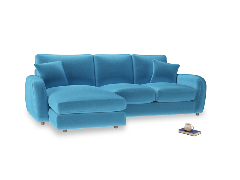 Large left hand Easy Squeeze Chaise Sofa in Teal Blue plush velvet