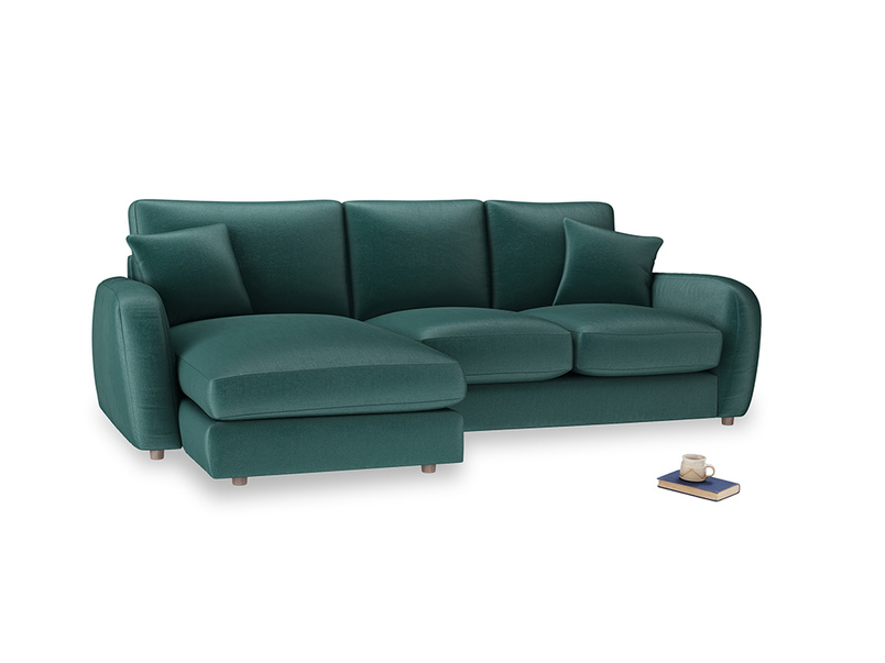 Large left hand Easy Squeeze Chaise Sofa in Timeless teal vintage velvet