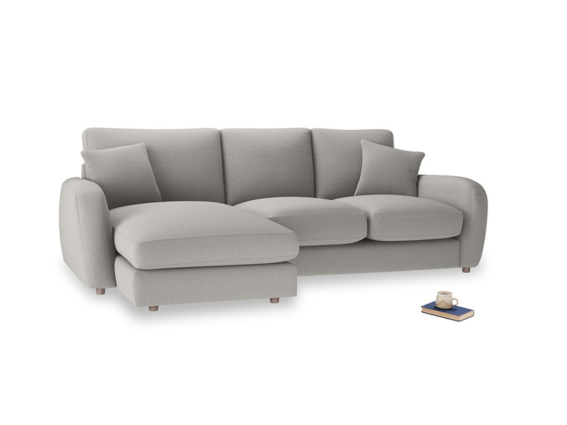 Large left hand Easy Squeeze Chaise Sofa in Wolf brushed cotton