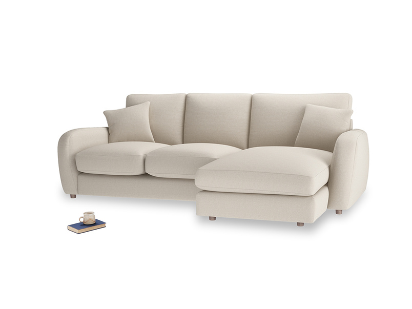 Large right hand Easy Squeeze Chaise Sofa in Buff brushed cotton