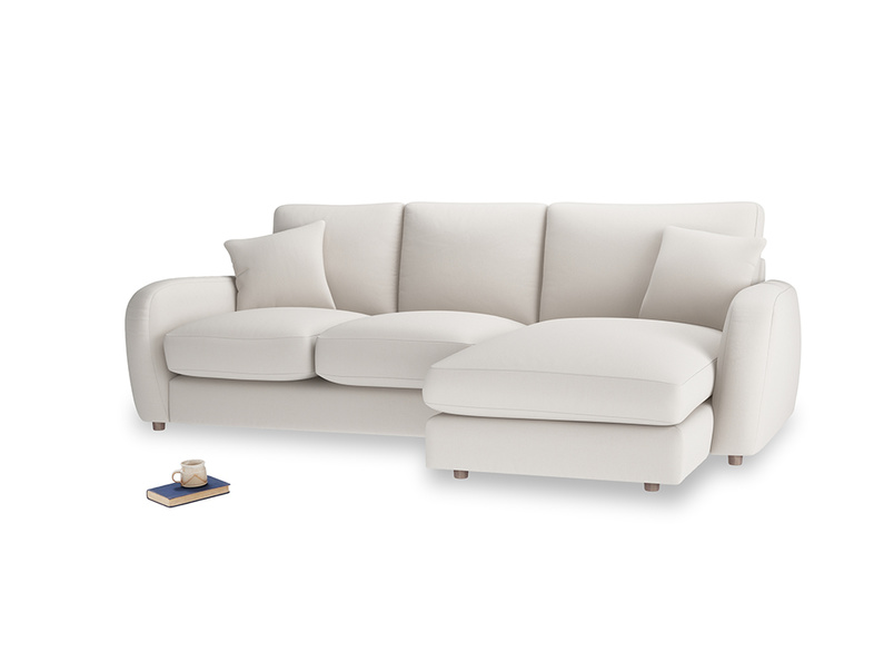 Large right hand Easy Squeeze Chaise Sofa in Chalk clever cotton