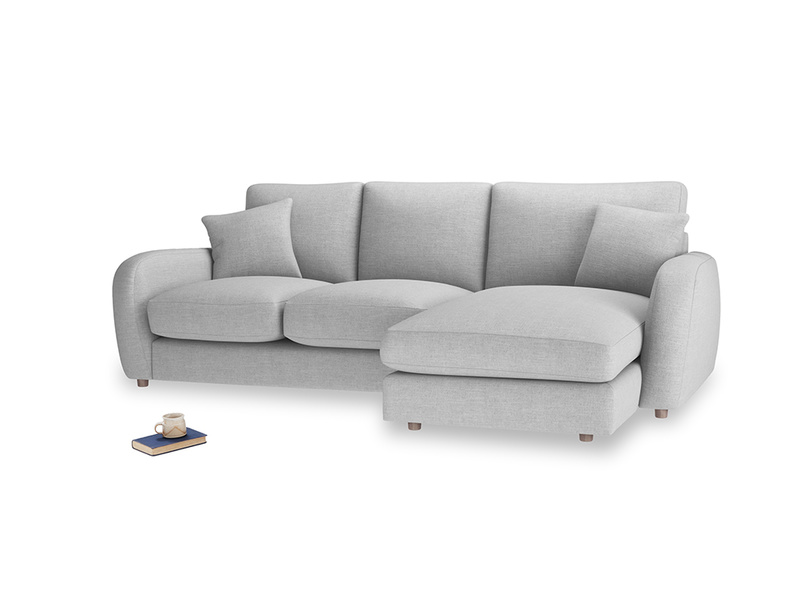 Large right hand Easy Squeeze Chaise Sofa in Cobble house fabric