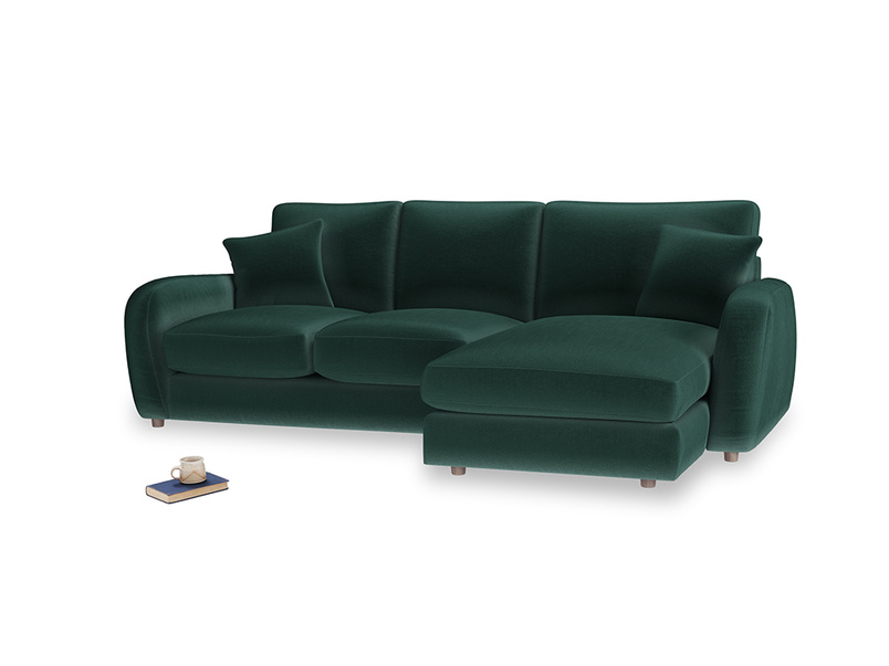 Large right hand Easy Squeeze Chaise Sofa in Dark green Clever Velvet