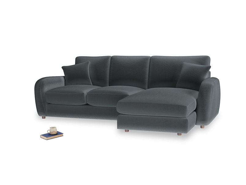 Large right hand Easy Squeeze Chaise Sofa in Dark grey Clever Deep Velvet