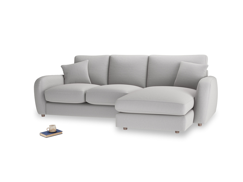 Large right hand Easy Squeeze Chaise Sofa in Flint brushed cotton