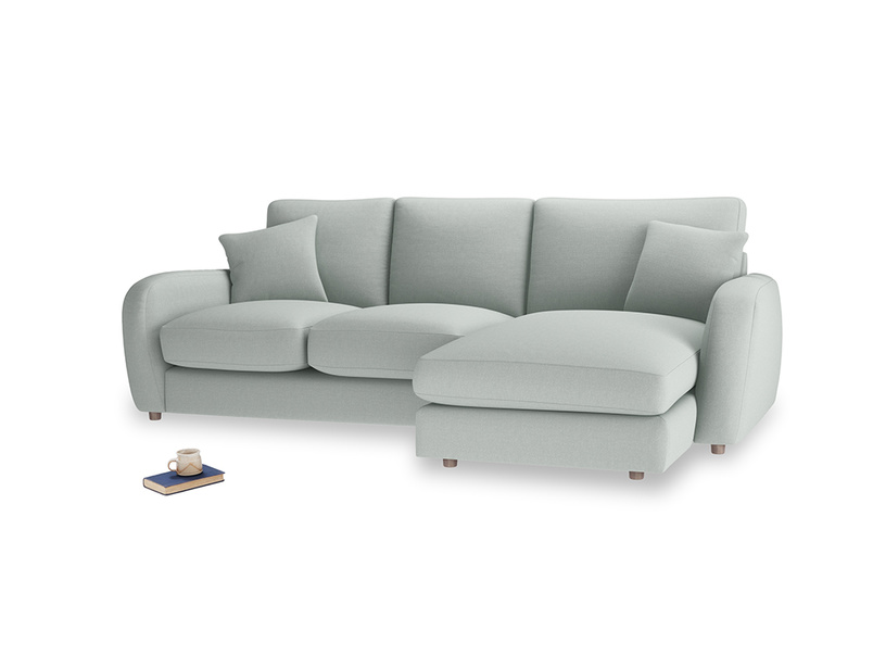 Large right hand Easy Squeeze Chaise Sofa in French blue brushed cotton