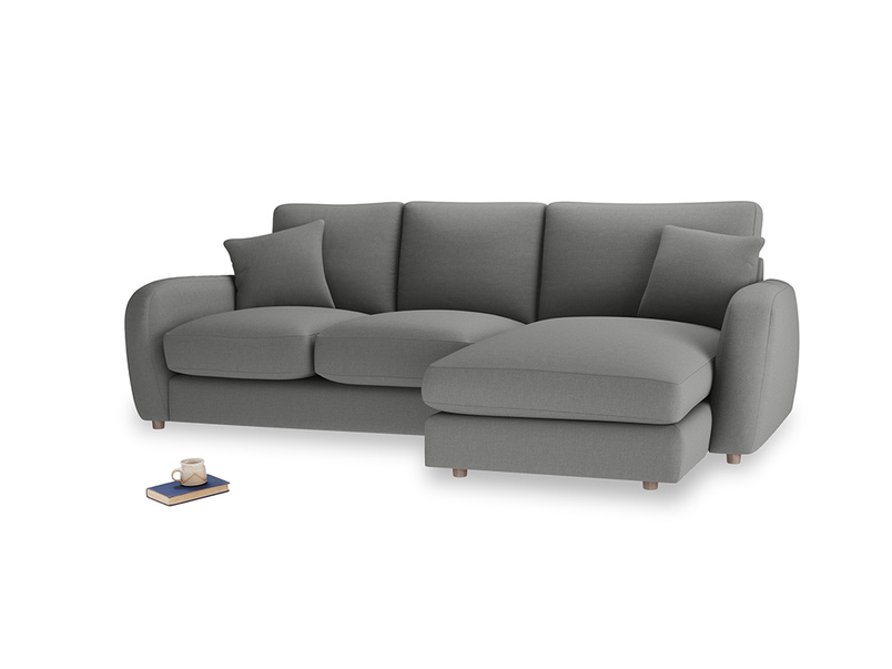 Large right hand Easy Squeeze Chaise Sofa in French Grey brushed cotton