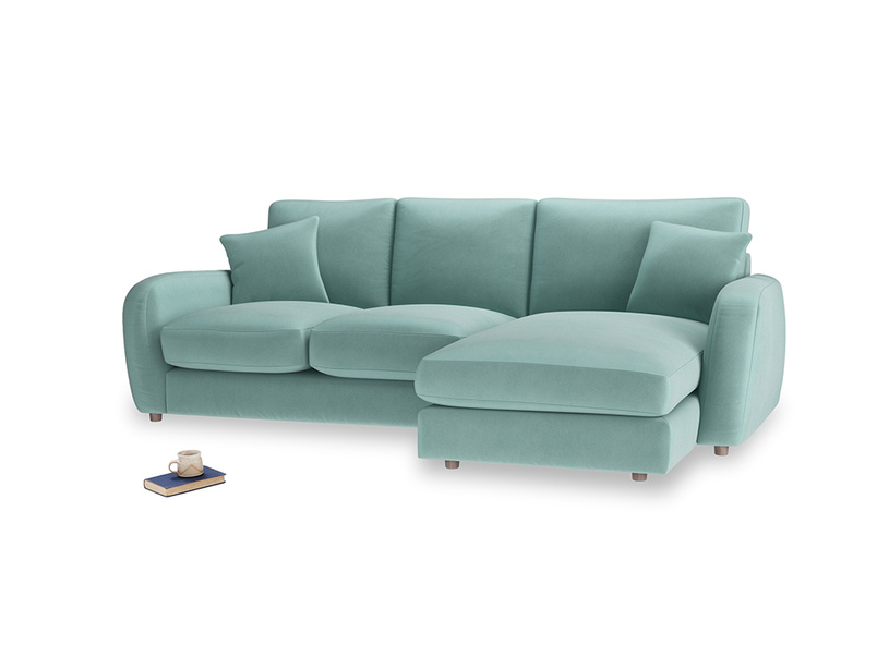 Large right hand Easy Squeeze Chaise Sofa in Greeny Blue Clever Deep Velvet