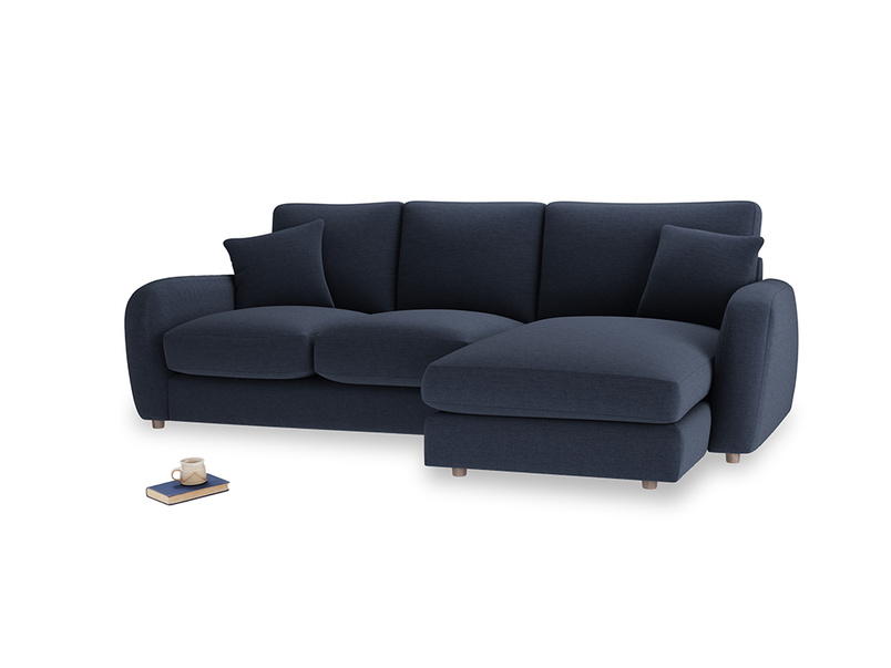 Large right hand Easy Squeeze Chaise Sofa in Indigo vintage linen