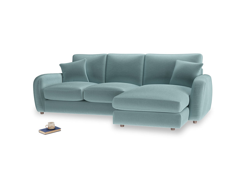 Large right hand Easy Squeeze Chaise Sofa in Lagoon clever velvet