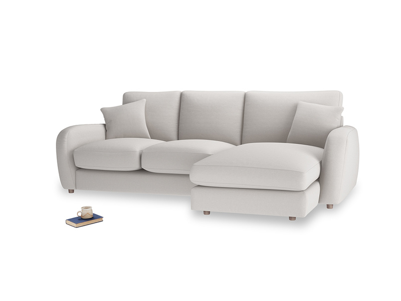 Large right hand Easy Squeeze Chaise Sofa in Lunar Grey washed cotton linen