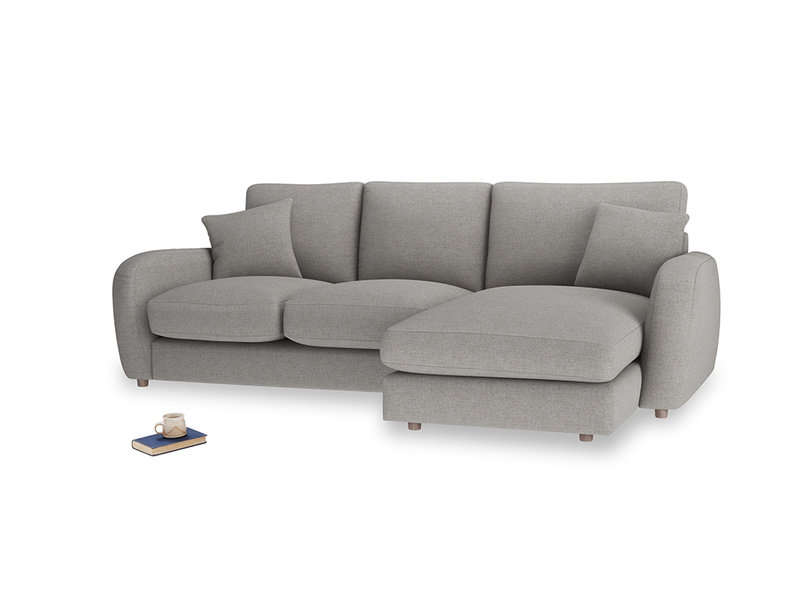 Large right hand Easy Squeeze Chaise Sofa in Marl grey clever woolly fabric